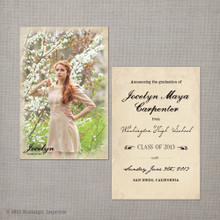 Jocelyn - 4x6  Vintage Graduation Invitation Announcement