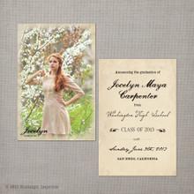 Jocelyn - 4x6  Vintage Graduation Invitation Announcement