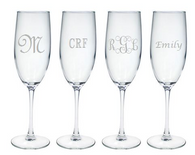 Personalized 8oz Champagne Flute - Set of 4 (Glass)