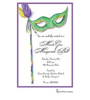 Green Mask Mardi Gras Party Invitation