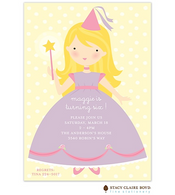 Pretty Princess Blonde Kids Party Invitation