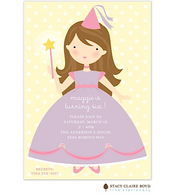 Pretty Princess Brunette Kids Party Invitation