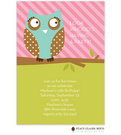 Lookie Who Owl Kids Party Invitation