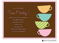 Teetering Tea Cups Kids Party Invitation