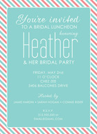 Coral & Aqua Candy Stripe Custom Invitation