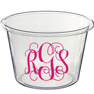 Personalized Lucite Beverage Bucket, Vine Monogram, Hot Pink Vinyl