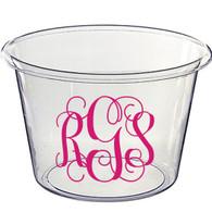 Personalized Lucite Beverage Bucket, Vine Monogram, Hot Pink Vinyl