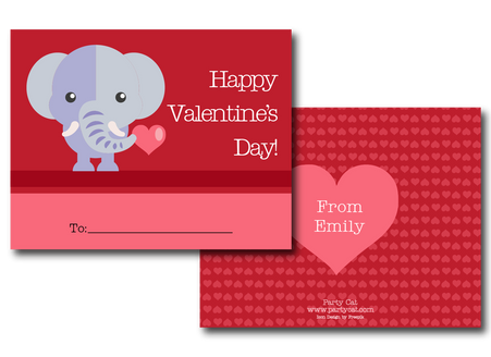 Personalized Elephant Valentines Card Party Cat – Elephant Valentines Card
