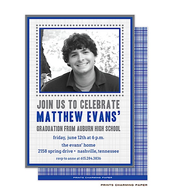 Blue Crosshatch with Brown BorderDigital Photo Graduation Announcement Cardn