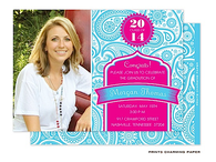 Blue Paisley on Hot PinkDigital Photo Graduation Announcement Cardn