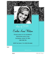Modern Floral Aqua Full Color Accent Graduation Digital Photo Announcement