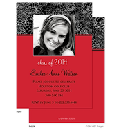 Modern Floral Red Accent Graduation Digital Announcement