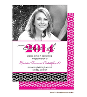 Black Diamond Pattern Digital Photo Graduation Invitation