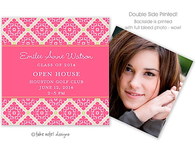 Pink Fancy Grid Digital Photo Calling Card