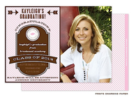 Pink 'Grad' on Diagonal Stripes Digital Photo Graduation Invitation