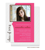 Grey Diagonal Stripes on Pink Digital Photo Graduation Invitation