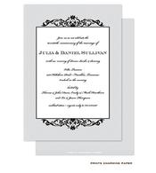 Black Fleurish on Grey Diagonal Stripes Invitation