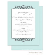 Grey Fleurish on Aqua Diagonal Stripes Invitation
