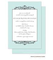 Grey Fleurish on Aqua Diagonal Stripes Invitation