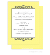 Grey Fleurish on Yellow Diagonal Stripes Invitation