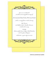 Grey Fleurish on Yellow Diagonal Stripes Invitation