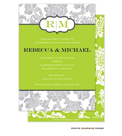 Grey Floral Pattern on White and Green Invitation
