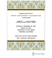Medallion Damask Aqua & Gold Invitation