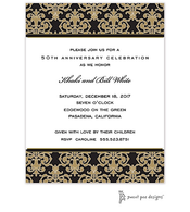Medallion Damask Black & Gold Invitation