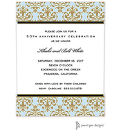 Medallion Damask Blue & Gold Invitation