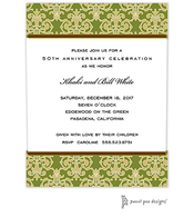 Medallion Damask Green & Gold Invitation