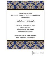 Medallion Damask Navy & Gold Invitation