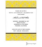 Medallion Damask Yellow & Gold Invitation