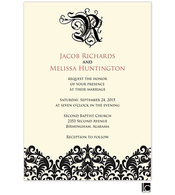 Black damask and monogram wedding invitation