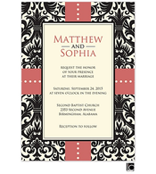 Black damask background wedding invitation