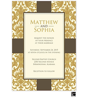 Gold damask background wedding invitation