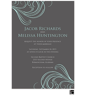 Gray and blue wedding invitation