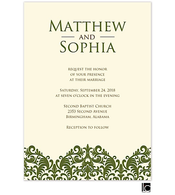 Green damask wedding invitation