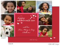 Red Valentine's Hearts Multi-Photo Flat Digital Photo Card