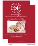 Simple Stamp Valentine's Girl Flat Digital Photo Birth Announcement
