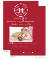Simple Stamp Valentine's Girl Flat Digital Photo Birth Announcement