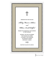 Antique Bead Border Black & Taupe Invitation