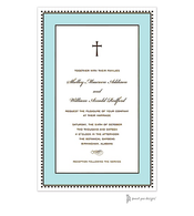 Antique Bead Border Chocolate & Aqua Invitation