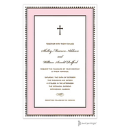 Antique Bead Border Chocolate & Pink Invitation