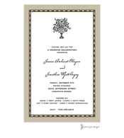 Rice Bead Border Taupe Invitation