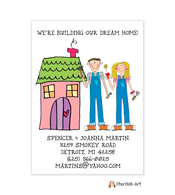 Building Vertical Pink House Moving Card