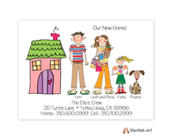 Horizontal Pink House Moving Card