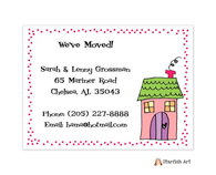 Pink House Dots Moving Card