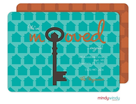 Turquoise Antique Key Moving Announcement