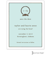 Classic Edge White & Chocolate On Aqua Invitation
