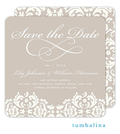 Damask Ivory Save The Date Card